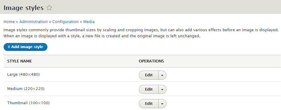 Drupal 8. Image styles