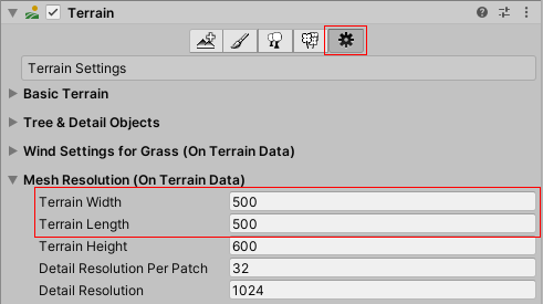 Unity. Terrain (width and height)
